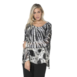 Γυναικεία μπλούζα εμπριμέ με διπλό ύφασμα