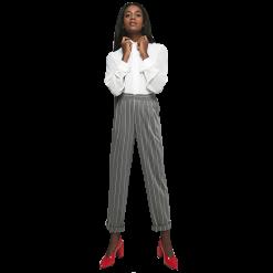 Γυναικείο καρώ παντελόνι με ρεβέρ