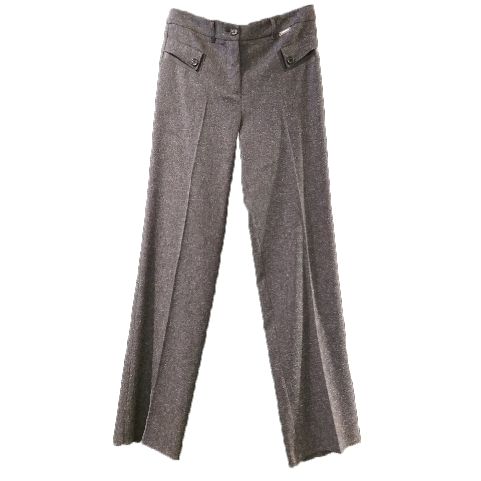 Women's trousers with leather and buttons