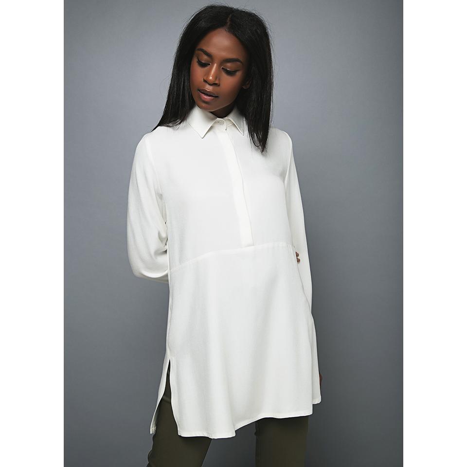 86704069cf1c Λευκό μακρύ γυναικείο πουκάμισο με ανοίγματα