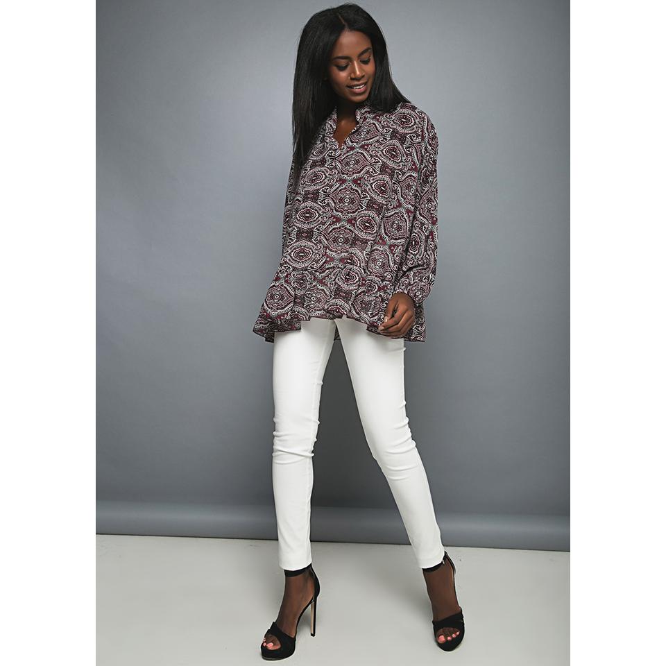 Γυναικεία μπλούζα εμπριμέ με μακριά μανίκια  835beedab79