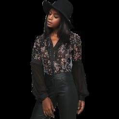 Γυναικεία floral πουκαμίσα με διαφάνεια