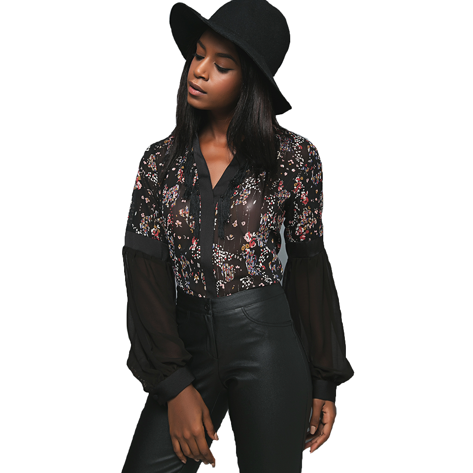 Women's floral shirt with transparency