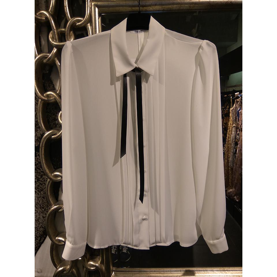 Λευκό γυναικείο πουκάμισο με γραβάτα
