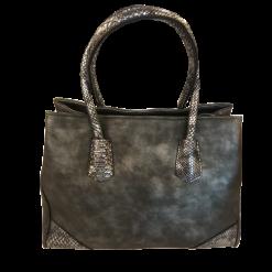 Τσάντα ώμου - χειρός γκρι με ασημί λεπτομέρειες