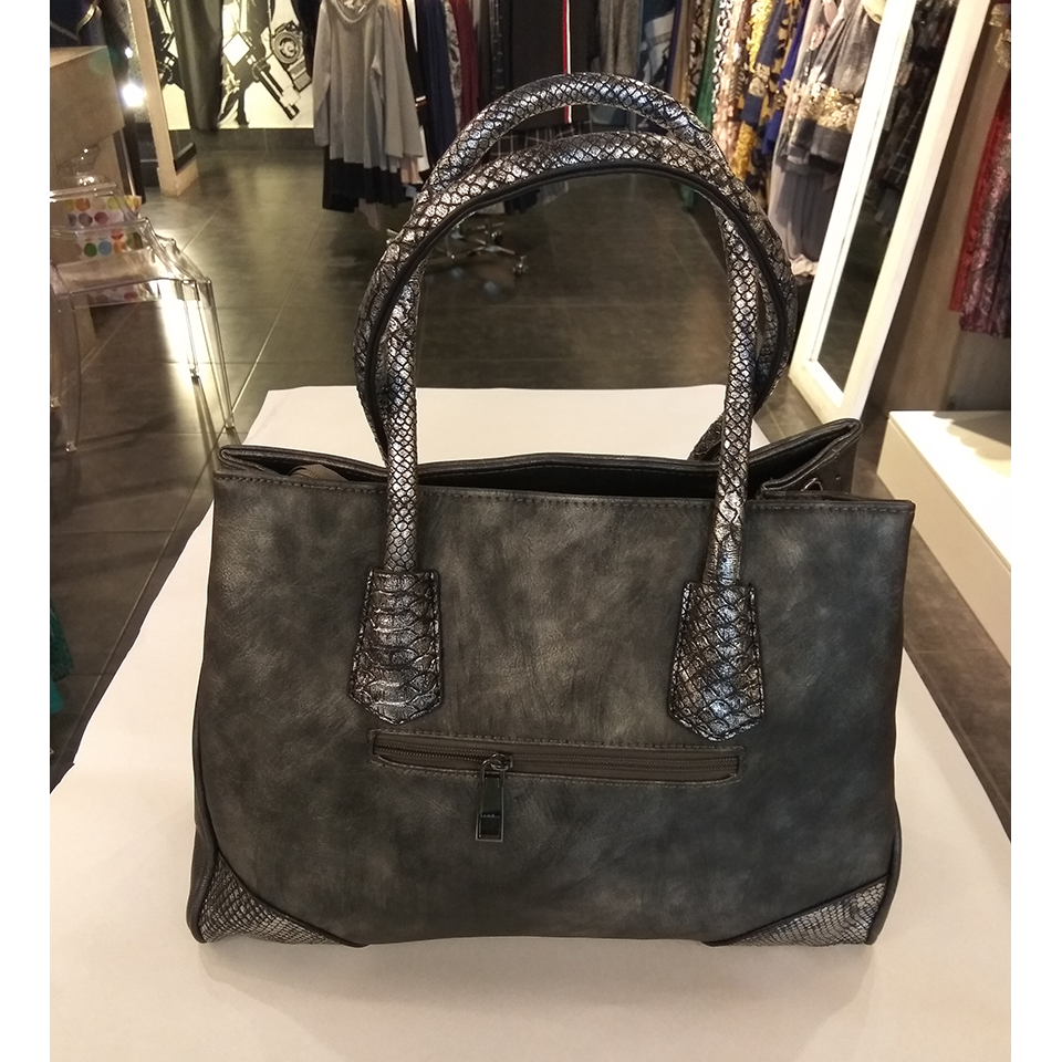 Shoulder bag - hand-gray with silver detail