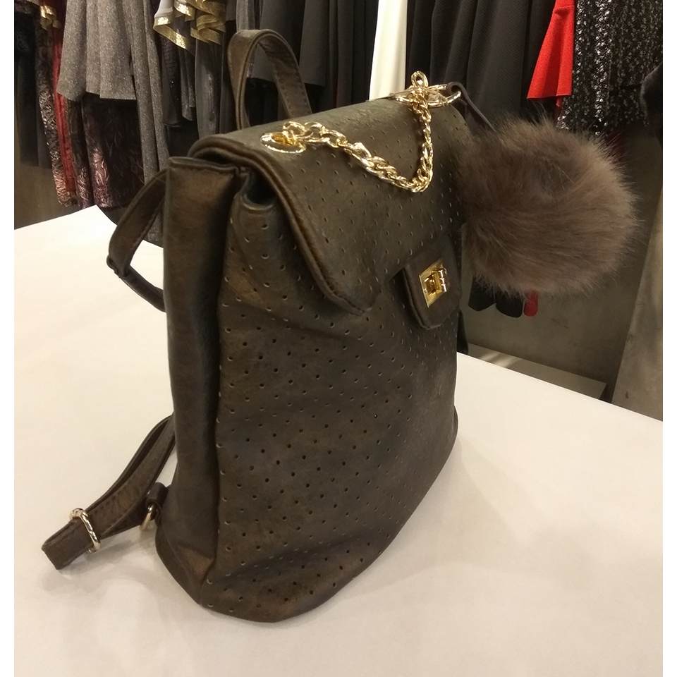 Backpack bag with decorative chain