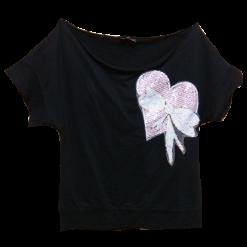 Mαύρη μπλούζα με στρογγυλή λαιμόκοψη