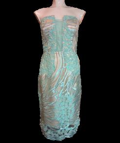 Short strapless evening dress embroidered