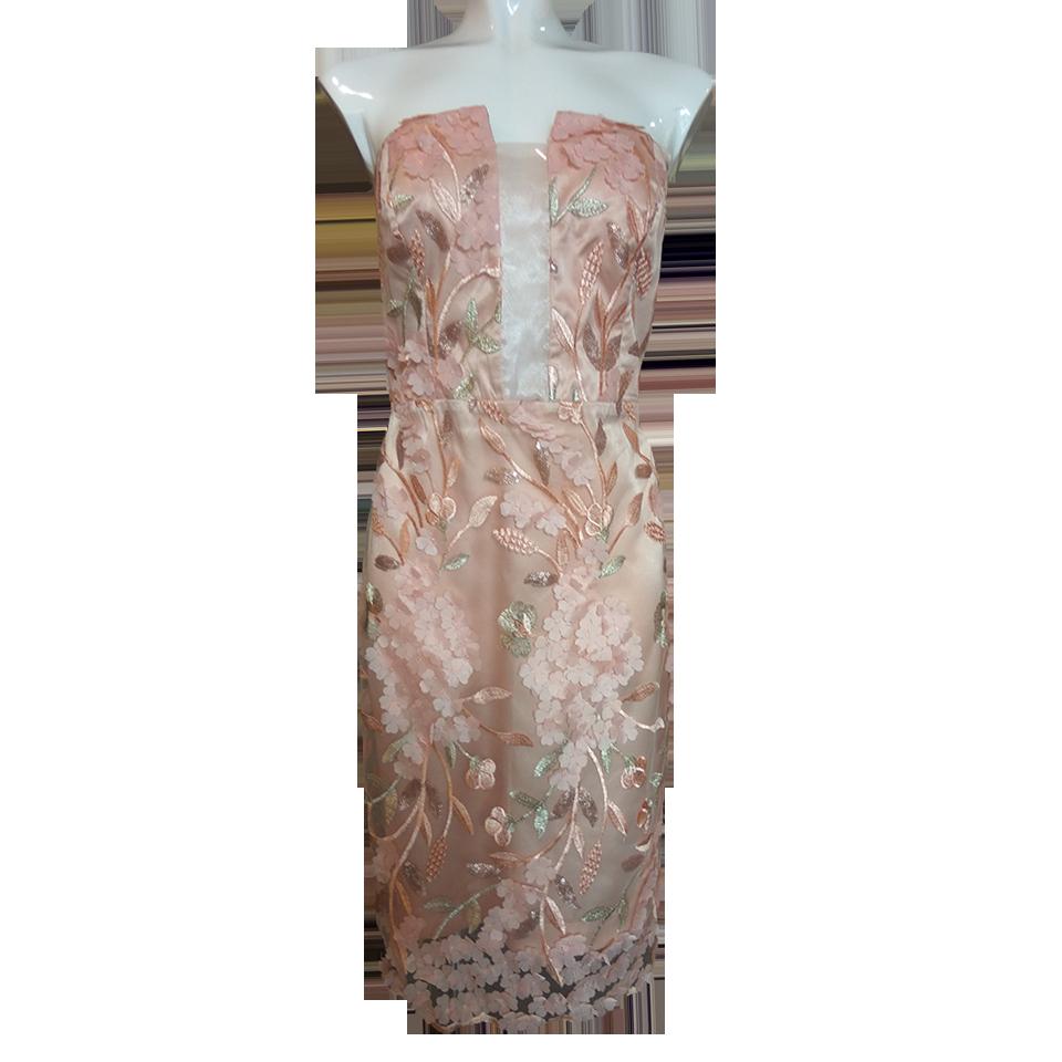aff4073e6042 Κοντό βραδινό φόρεμα strapless κεντημένο