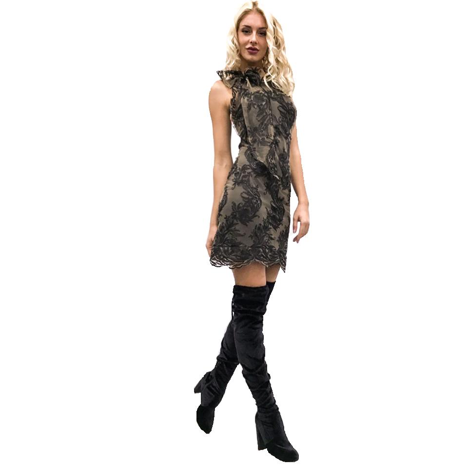 Κοντό φόρεμα δαντέλα με δέσιμο στο λαιμό