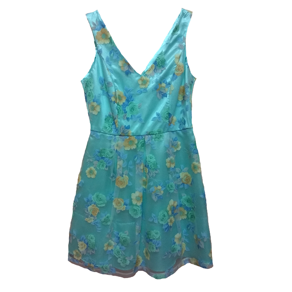 Sleeveless floral dress in line A