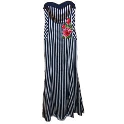 Μακρύ φόρεμα ριγέ σε Α γραμμή