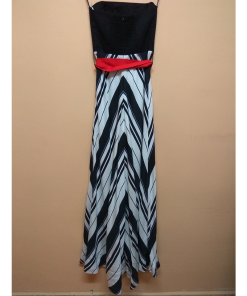 Maxi strapless dress with striped skirt