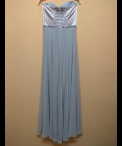 Maxi strapless φόρεμα με σατέν και μουσελίνα