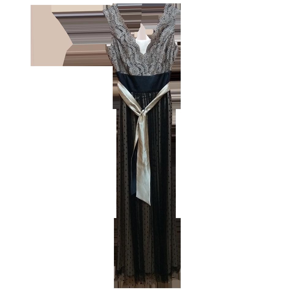 Maxi αμάνικο φόρεμα με τούλι και χρυσή ζώνη