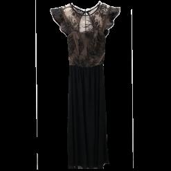 Maxi μαύρο φόρεμα με βολάν στα μανίκια
