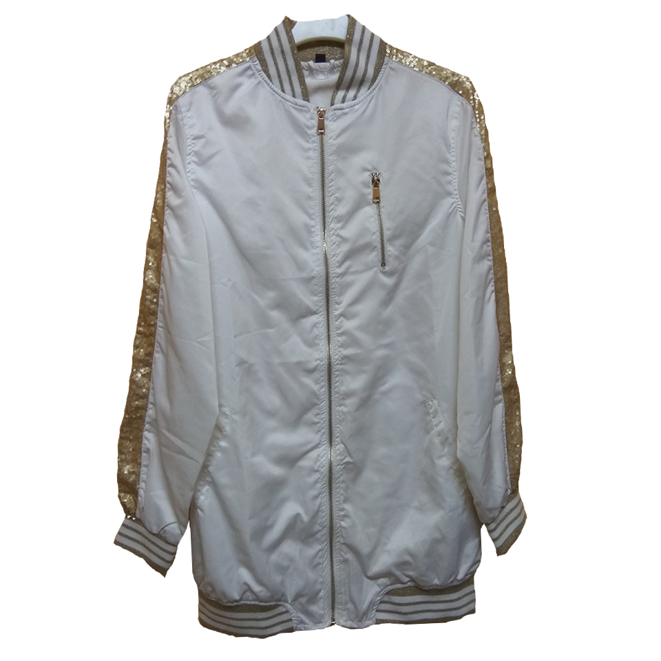 Long windbreaker jacket with pockets