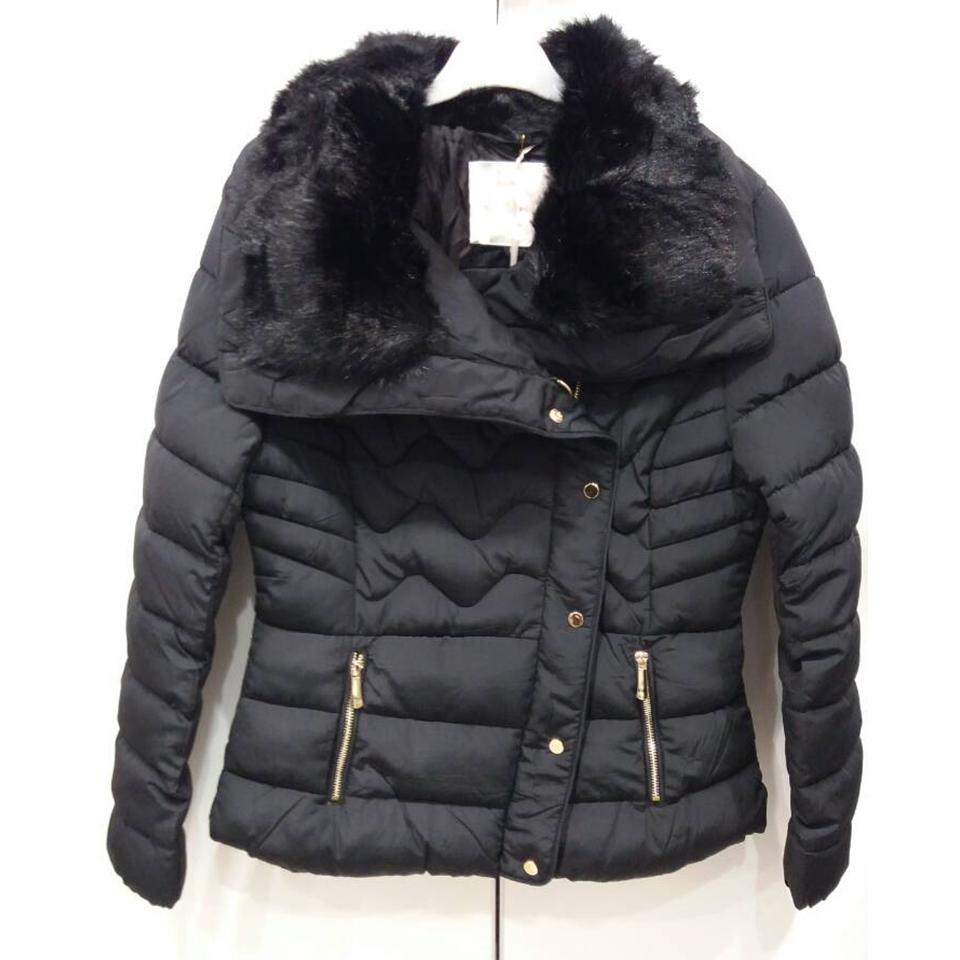 Short black female jacket with fur