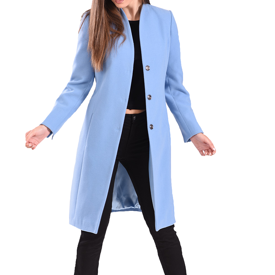 Women's long coat with metal clasp