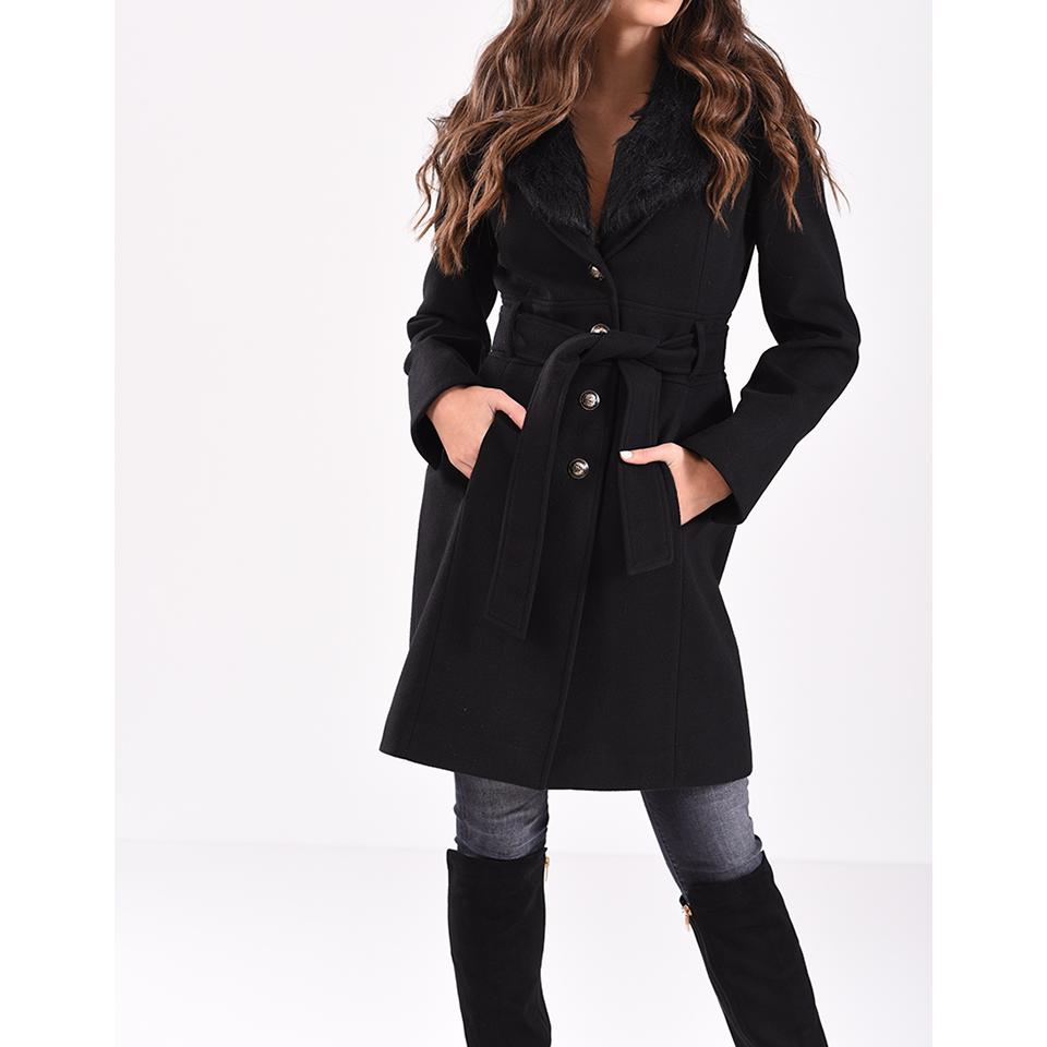 b096739f786 Παλτό με αφαιρούμενη γούνα και ζώνη | Primadonna.com.gr