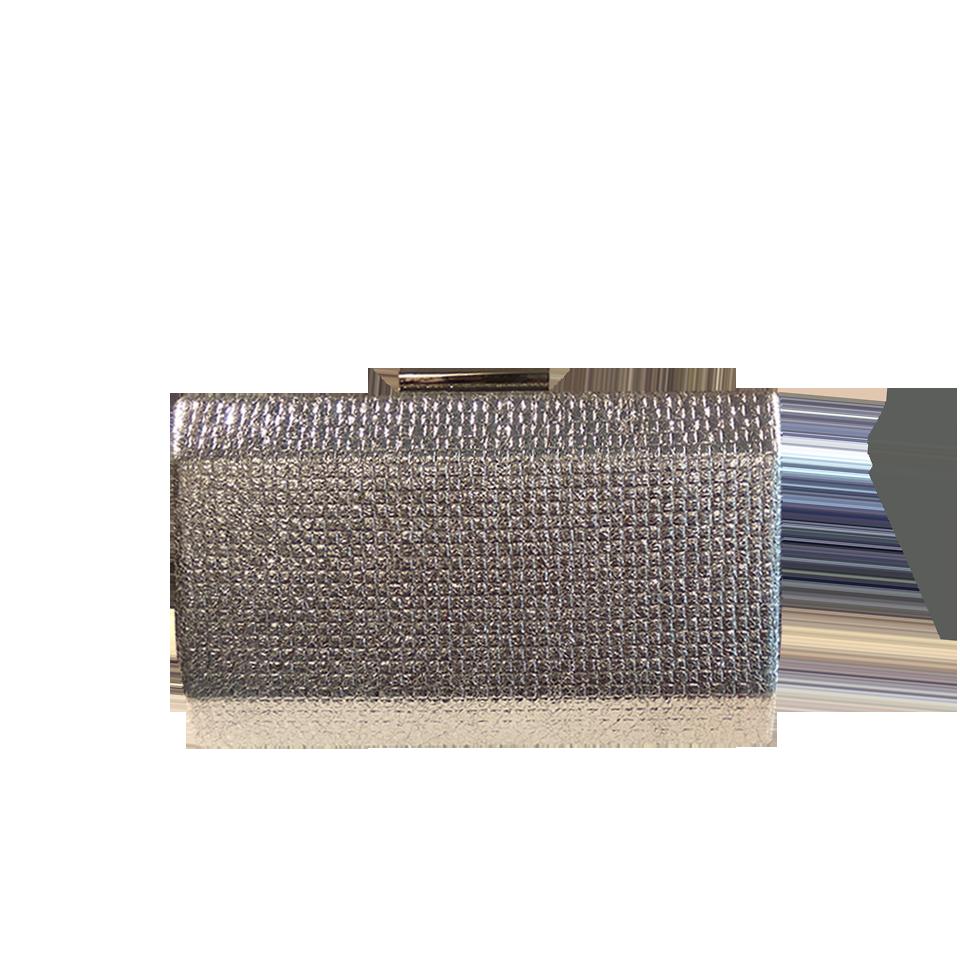Γυναικείο clutch bag ανάγλυφο ασημί
