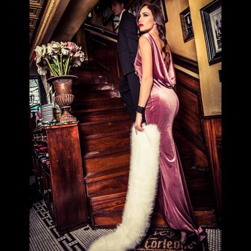 Velvet maxi dress with back jewel