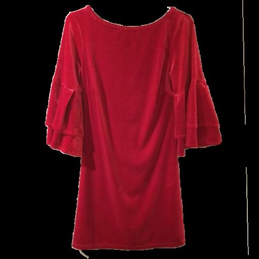 Βελούδινο κοντό φόρεμα με μανίκια καμπάνα