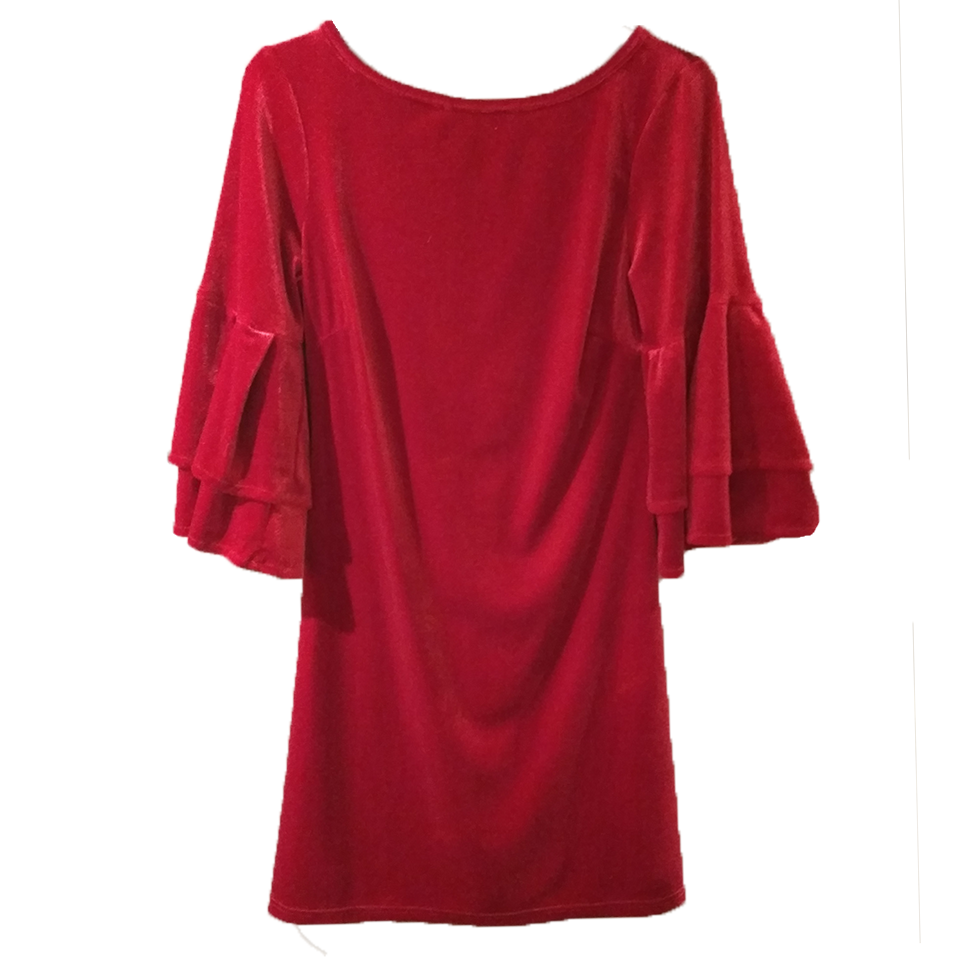 Velvet short dress with bell sleeves