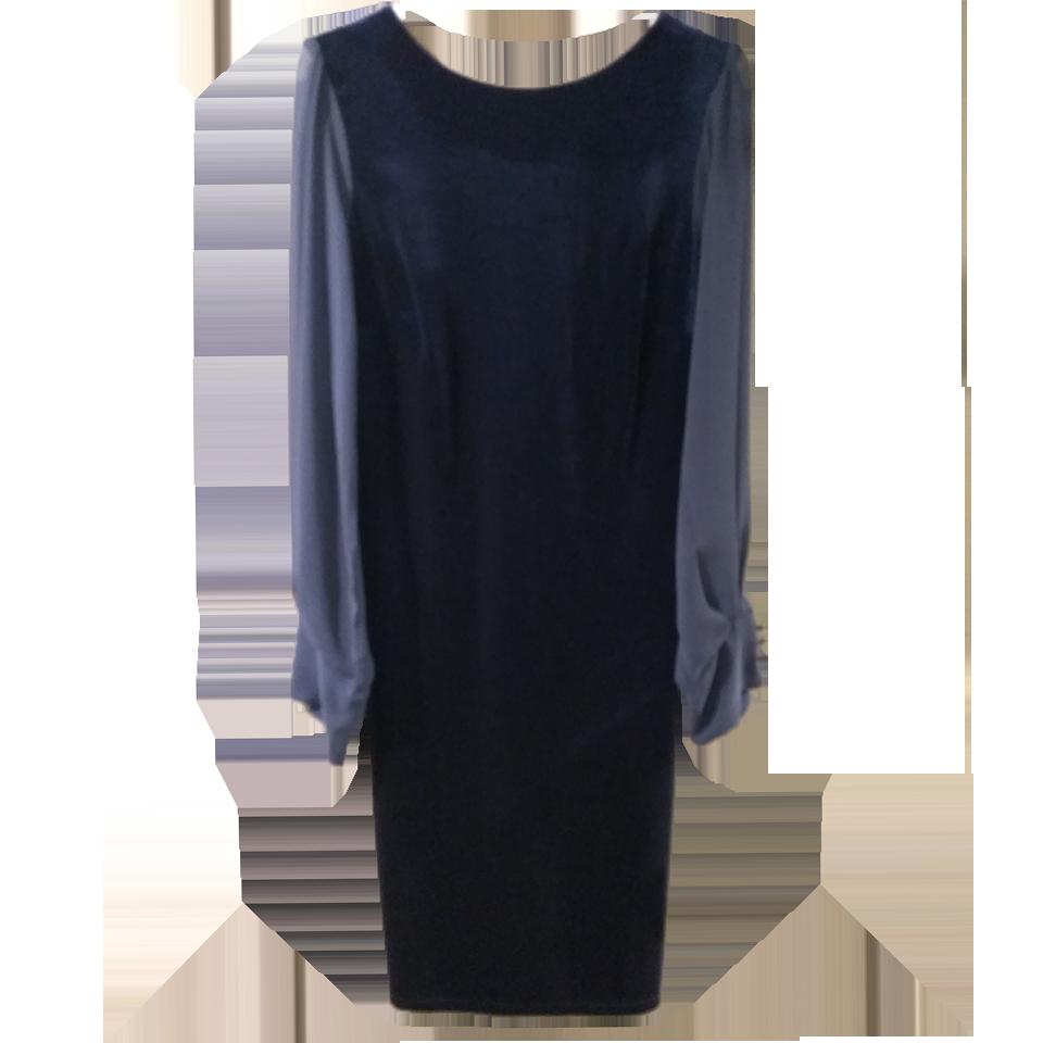 Velvet dress with long transparent sleeves