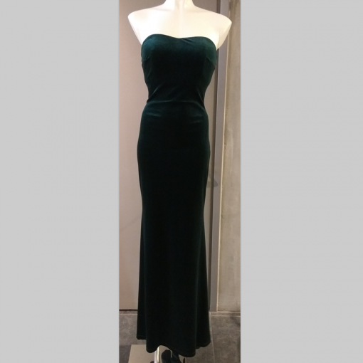 Βελούδινο maxi strapless φόρεμα