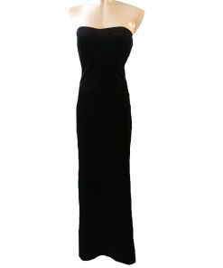 Velvet maxi strapless dress