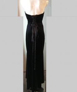 Velvet maxi strapless dress