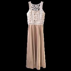 Maxi φόρεμα με δαντέλα και σατέν