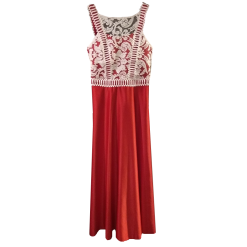 Maxi dress with lace and satin