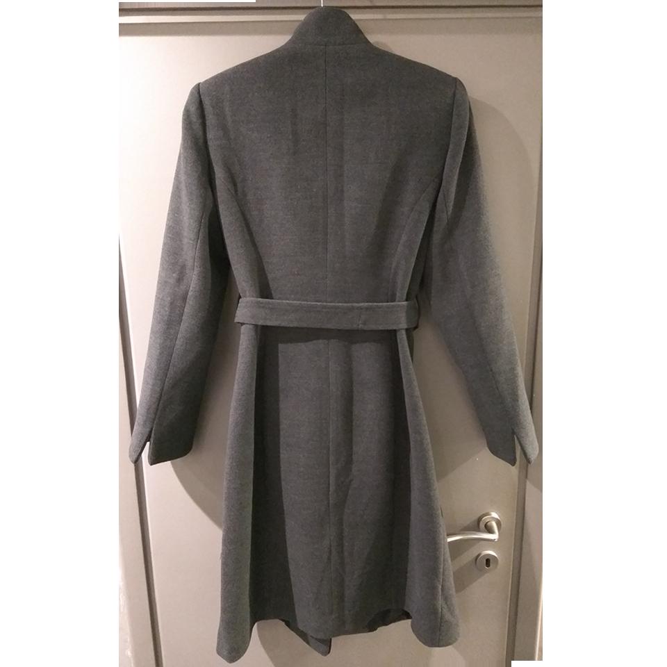 Γκρί σκούρο παλτό με κουμπιά και ζώνη  9a310ba4f23