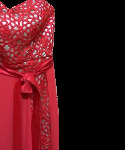 Mini φόρεμα strapless κόκκινο από δαντέλα