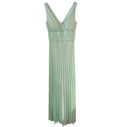 Maxi pleated dress with V front and back