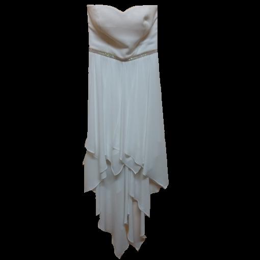 Λευκό strapless ασύμμετρο φόρεμα