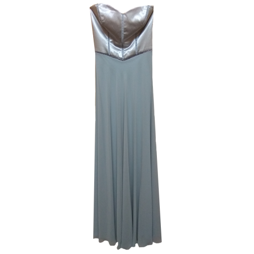 Maxi strapless dress with satin and muslin