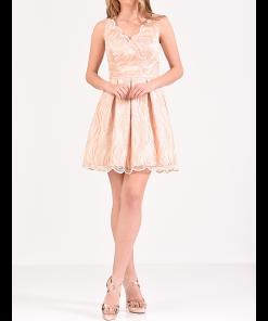 Κοντό φόρεμα δαντέλα με V ανοικτή πλάτη