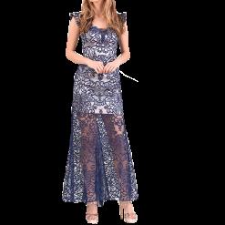 Μακρύ φόρεμα δαντέλα με σχέδιο στα μανίκια