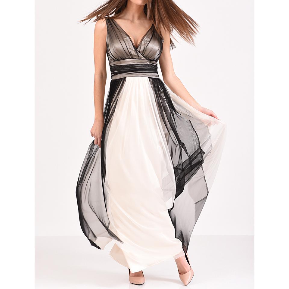 Maxi αέρινο φόρεμα κρουαζέ ασπρόμαυρο
