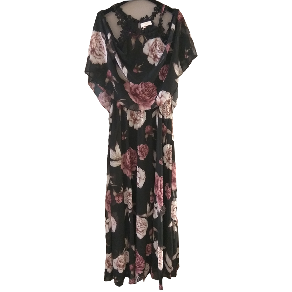 Maxi floral φόρεμα με γυμνούς ώμους