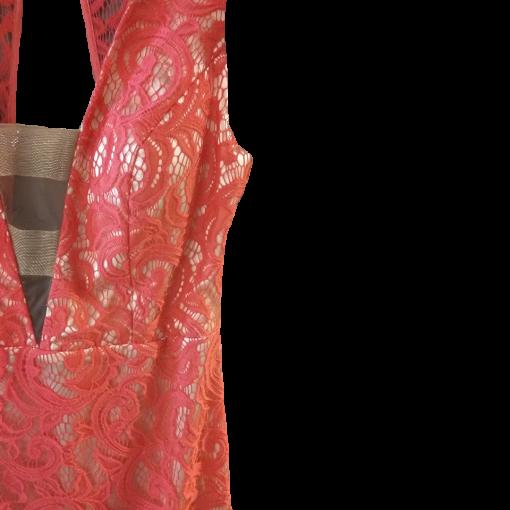 Red asymmetrical lace dress