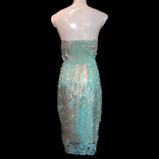 Κοντό βραδινό φόρεμα strapless κεντημένο