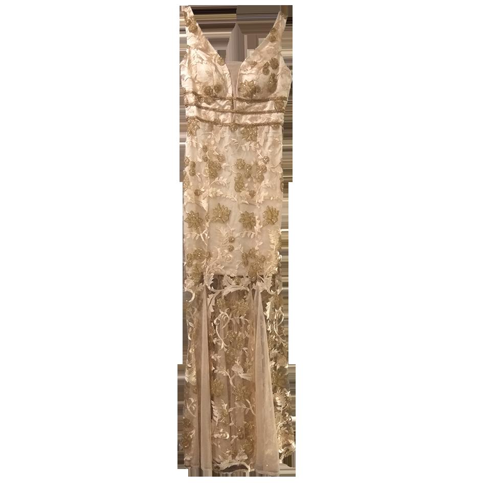 Maxi χρυσό φόρεμα με διαφάνειες γοργονέ
