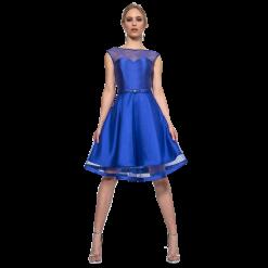 Κοντό φόρεμα με πλατιές διάφανες τιράντες