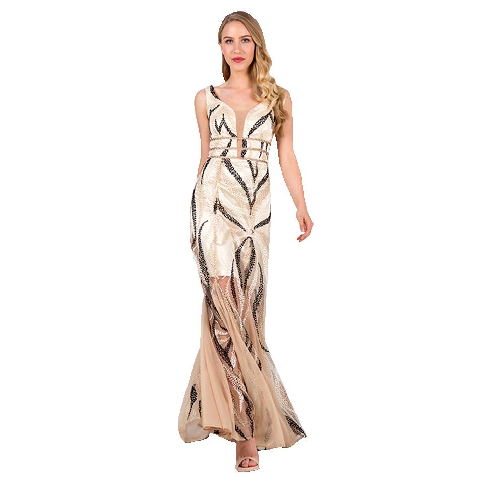 Maxi φόρεμα χρυσό με ανοικτή πλάτη