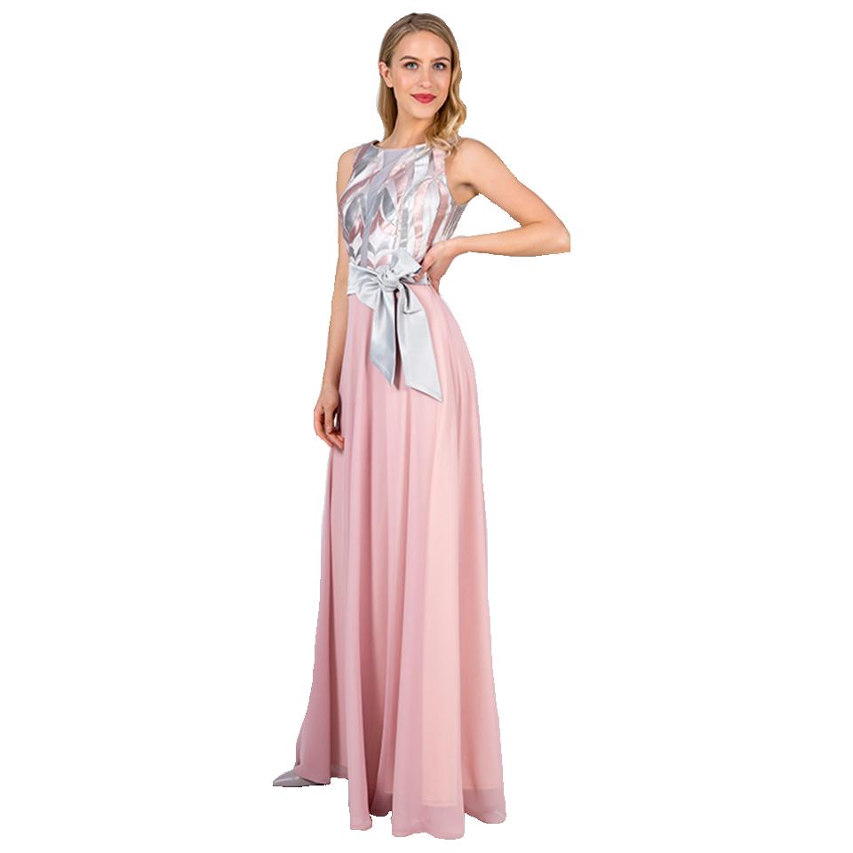 Maxi φόρεμα με διαφάνεια στο μπούστο